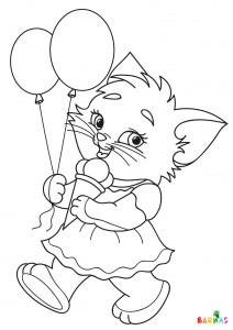 Katt med is og ballonger